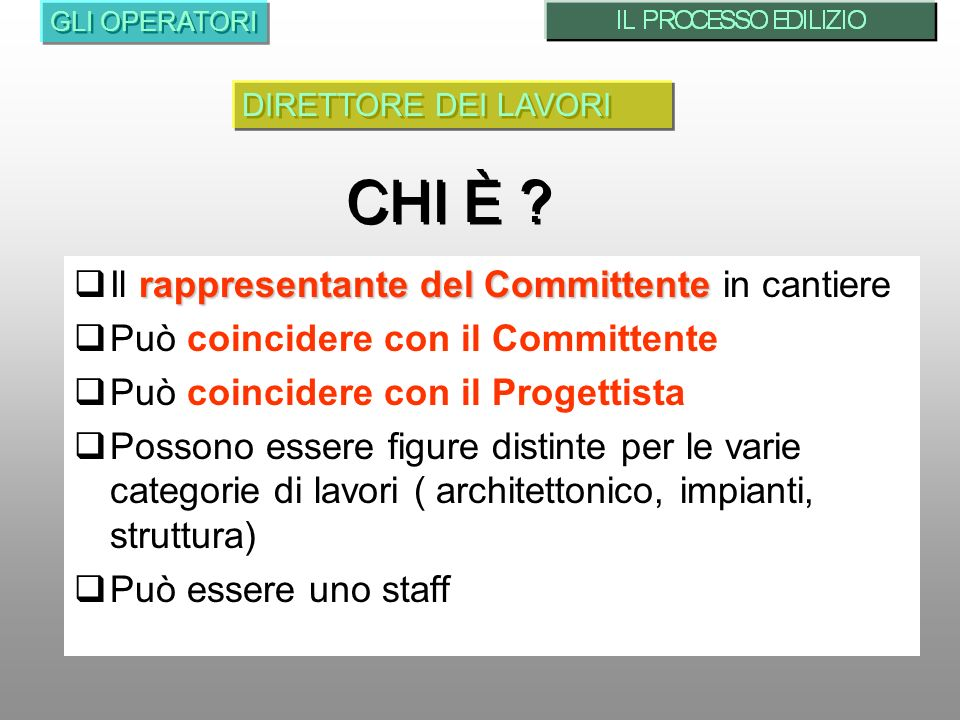 rappresentante del Committente Il rappresentante del Committente in cantiere Può coincidere con il Committente Può coincidere con il Progettista Posso