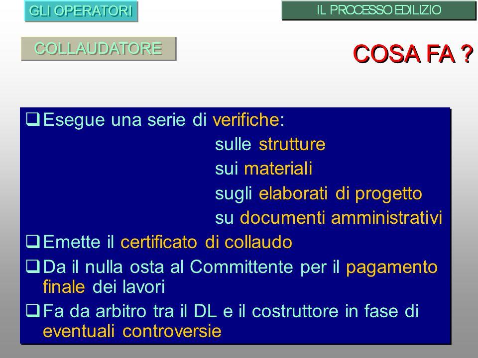 Esegue una serie di verifiche: sulle strutture sui materiali sugli elaborati di progetto su documenti amministrativi Emette il certificato di collaudo