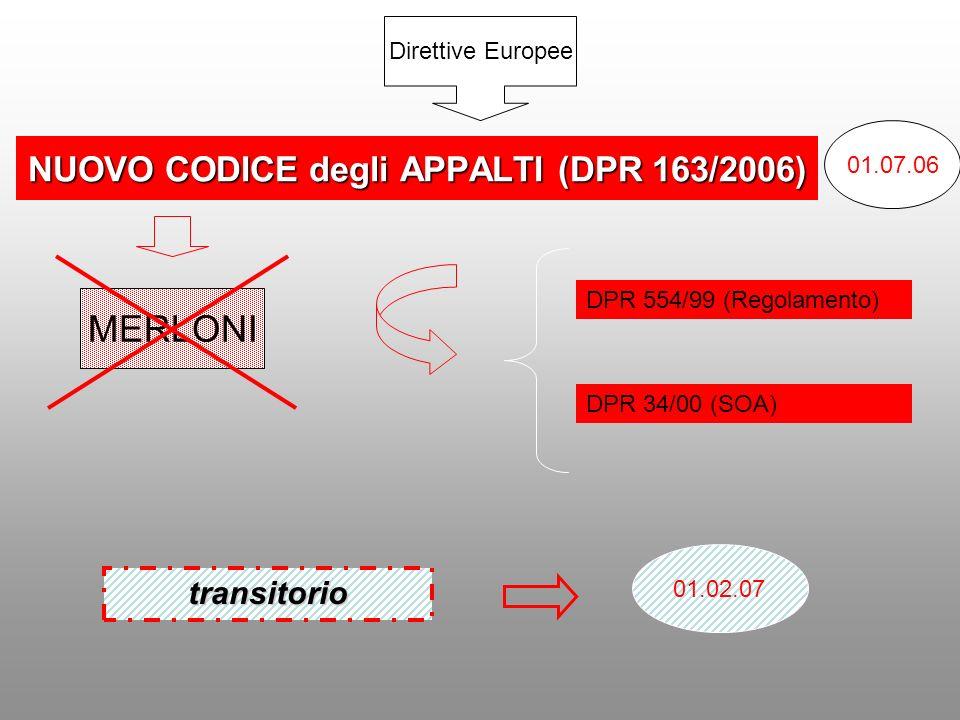 NUOVO CODICE degli APPALTI (DPR 163/2006) 01.07.06 01.02.07 MERLONI DPR 554/99 (Regolamento) DPR 34/00 (SOA) Direttive Europee transitorio