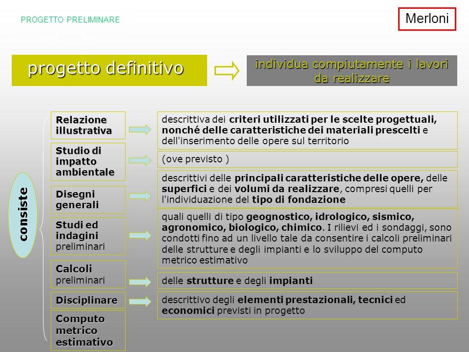 progetto definitivo progetto definitivo individua compiutamente i lavori da realizzare consiste descrittiva dei criteri utilizzati per le scelte proge