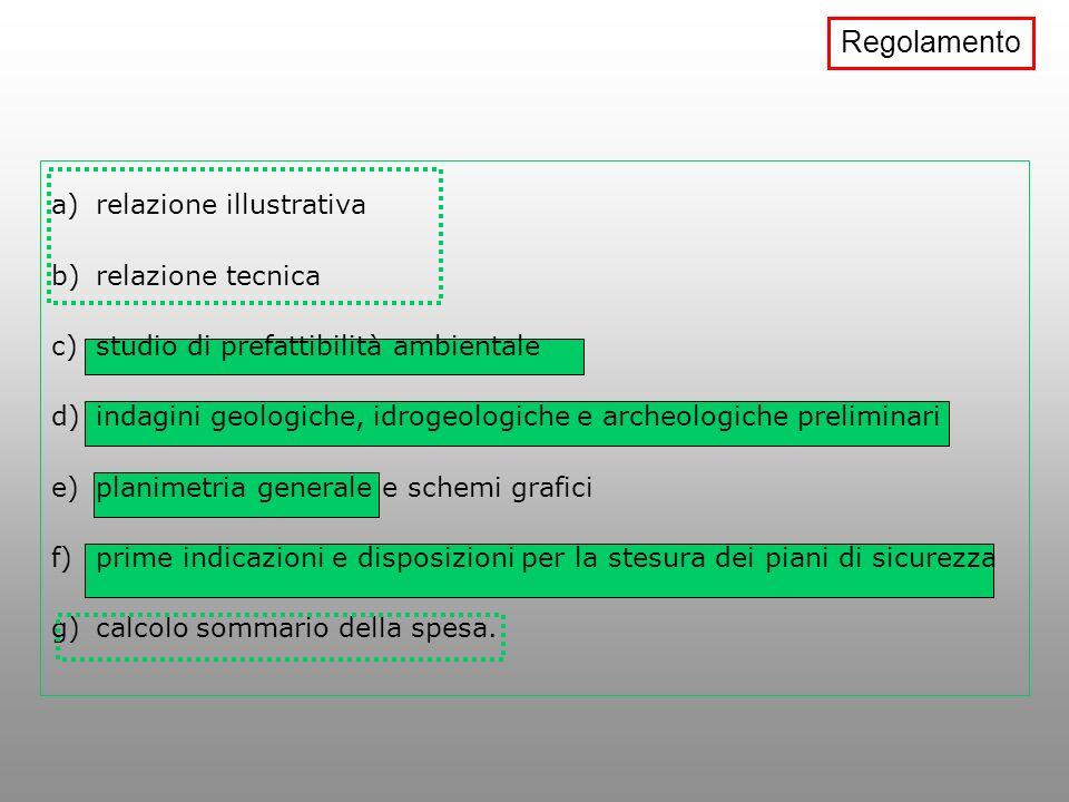 a)relazione illustrativa b)relazione tecnica c)studio di prefattibilità ambientale d)indagini geologiche, idrogeologiche e archeologiche preliminari e