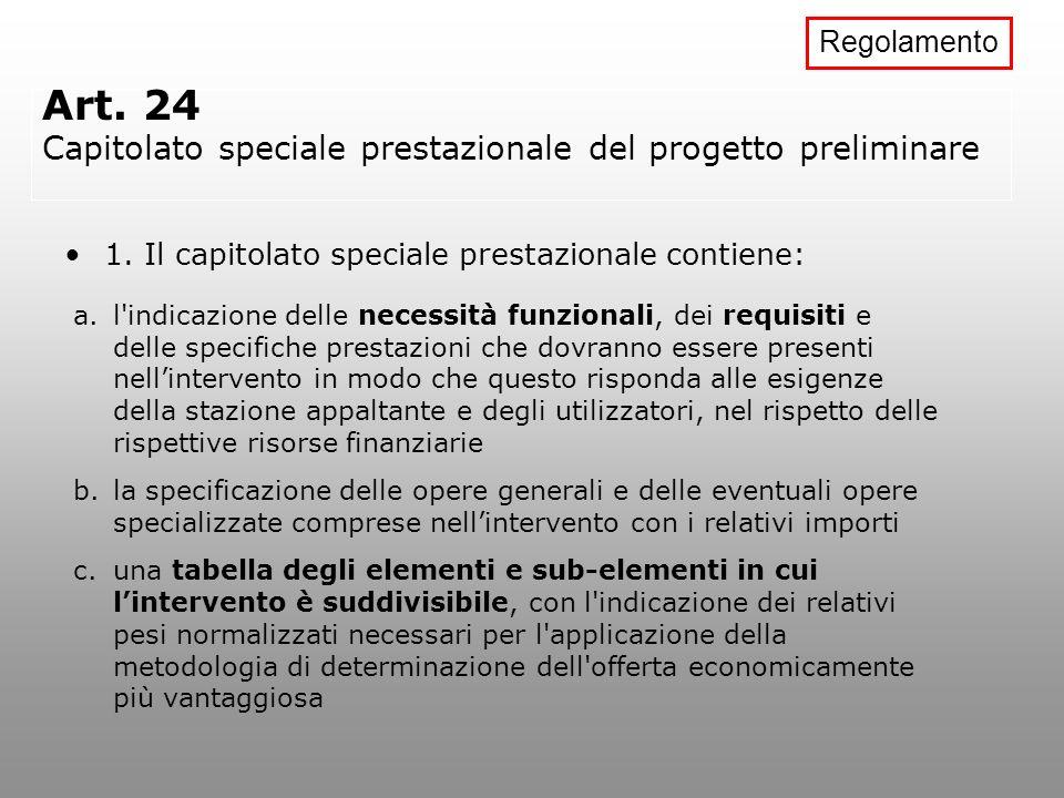 Art. 24 Capitolato speciale prestazionale del progetto preliminare 1. Il capitolato speciale prestazionale contiene: a.l'indicazione delle necessità f