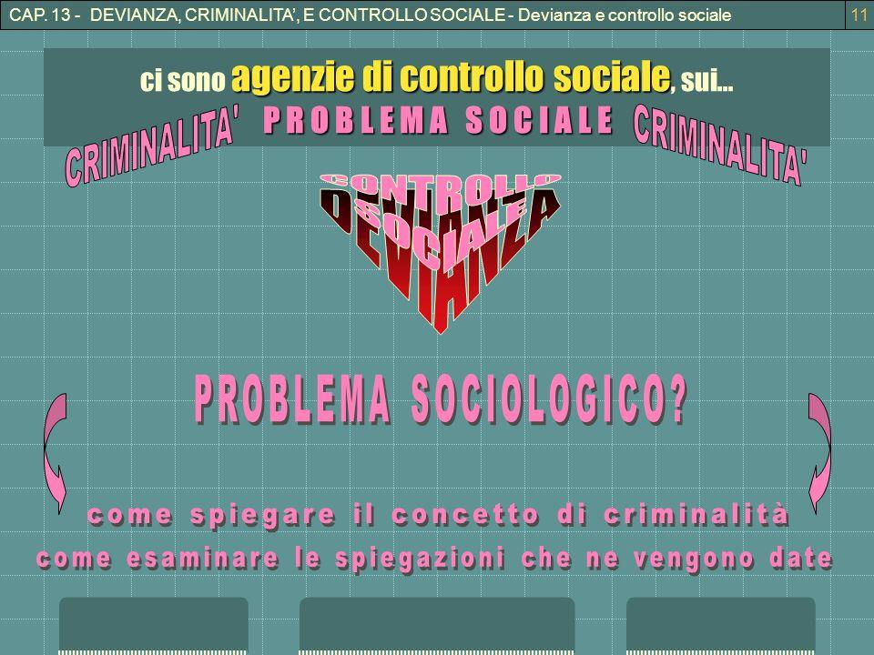 CAP. 13 - DEVIANZA, CRIMINALITA, E CONTROLLO SOCIALE - Devianza e controllo sociale11 agenzie di controllo sociale ci sono agenzie di controllo social