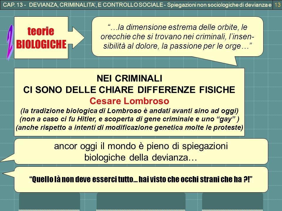 CAP. 13 - DEVIANZA, CRIMINALITA, E CONTROLLO SOCIALE - Spiegazioni non sociologiche di devianza e crimninalità13 teorie BIOLOGICHE …la dimensione estr