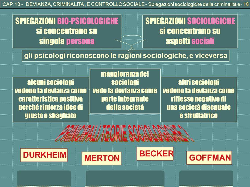 CAP. 13 - DEVIANZA, CRIMINALITA, E CONTROLLO SOCIALE - Spiegazioni sociologiche della criminalità e della devianza16 SPIEGAZIONI SOCIOLOGICHE si conce