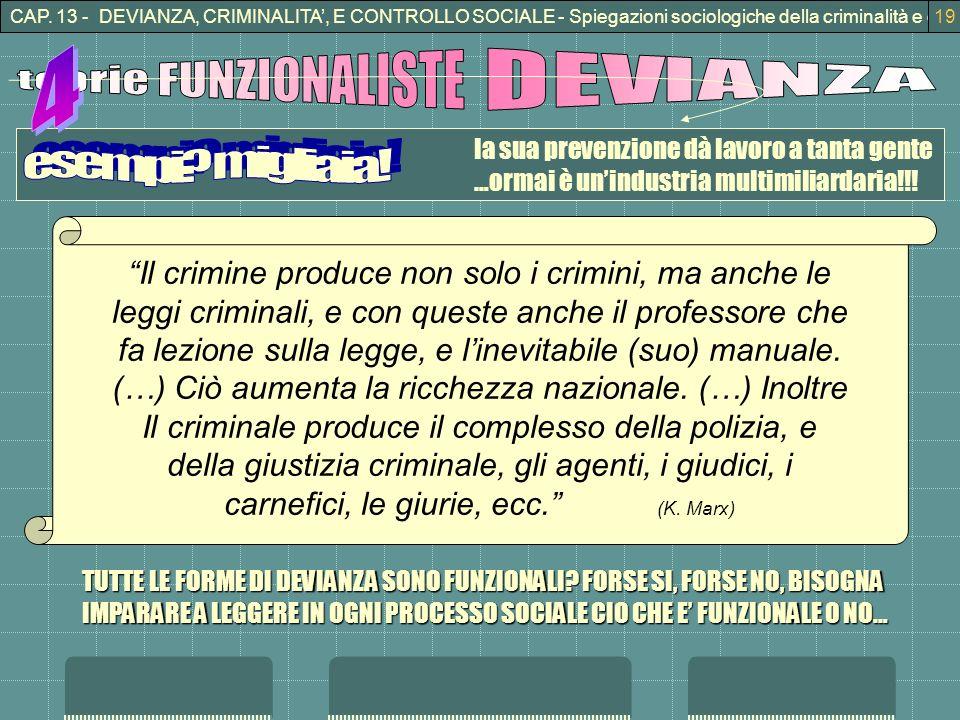 CAP. 13 - DEVIANZA, CRIMINALITA, E CONTROLLO SOCIALE - Spiegazioni sociologiche della criminalità e della devianza19 la sua prevenzione dà lavoro a ta