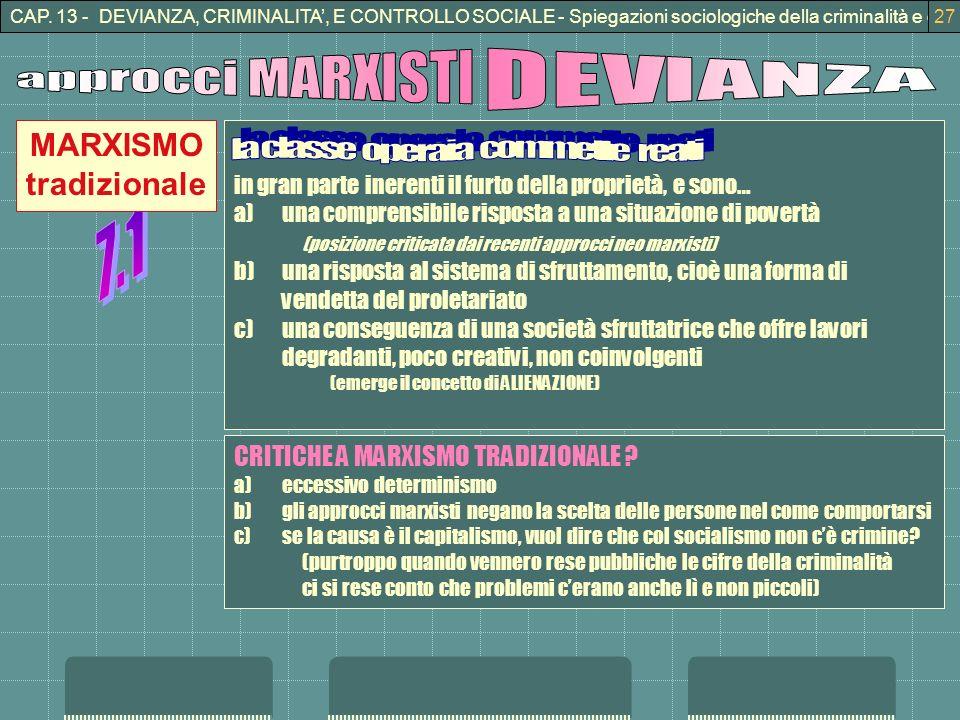 CAP. 13 - DEVIANZA, CRIMINALITA, E CONTROLLO SOCIALE - Spiegazioni sociologiche della criminalità e della devianza27 in gran parte inerenti il furto d
