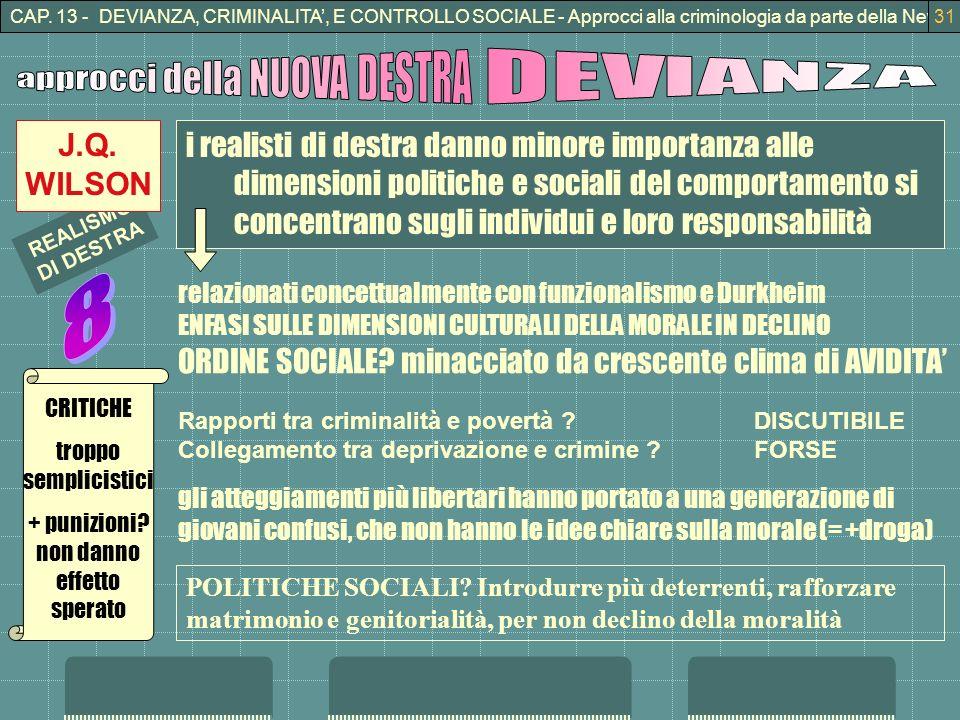 CAP. 13 - DEVIANZA, CRIMINALITA, E CONTROLLO SOCIALE - Approcci alla criminologia da parte della New Right31 i realisti di destra danno minore importa