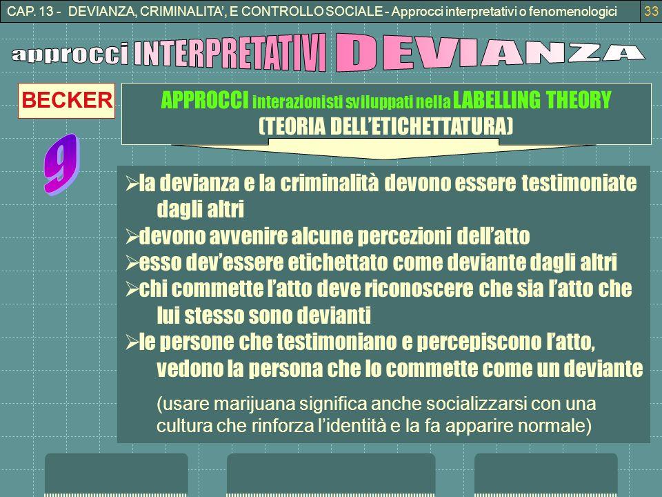 CAP. 13 - DEVIANZA, CRIMINALITA, E CONTROLLO SOCIALE - Approcci interpretativi o fenomenologici33 APPROCCI interazionisti sviluppati nella LABELLING T
