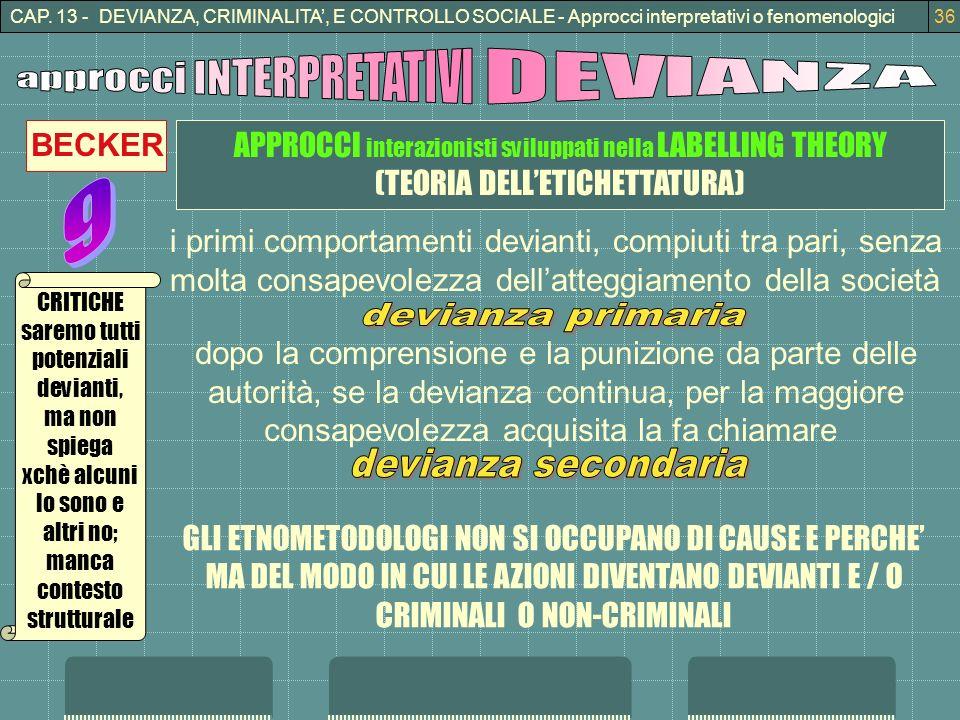 CAP. 13 - DEVIANZA, CRIMINALITA, E CONTROLLO SOCIALE - Approcci interpretativi o fenomenologici36 APPROCCI interazionisti sviluppati nella LABELLING T