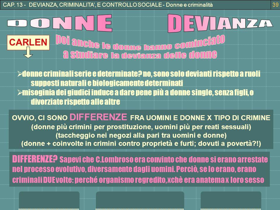 CAP. 13 - DEVIANZA, CRIMINALITA, E CONTROLLO SOCIALE - Donne e criminalità39 CARLEN donne criminali serie e determinate? no, sono solo devianti rispet