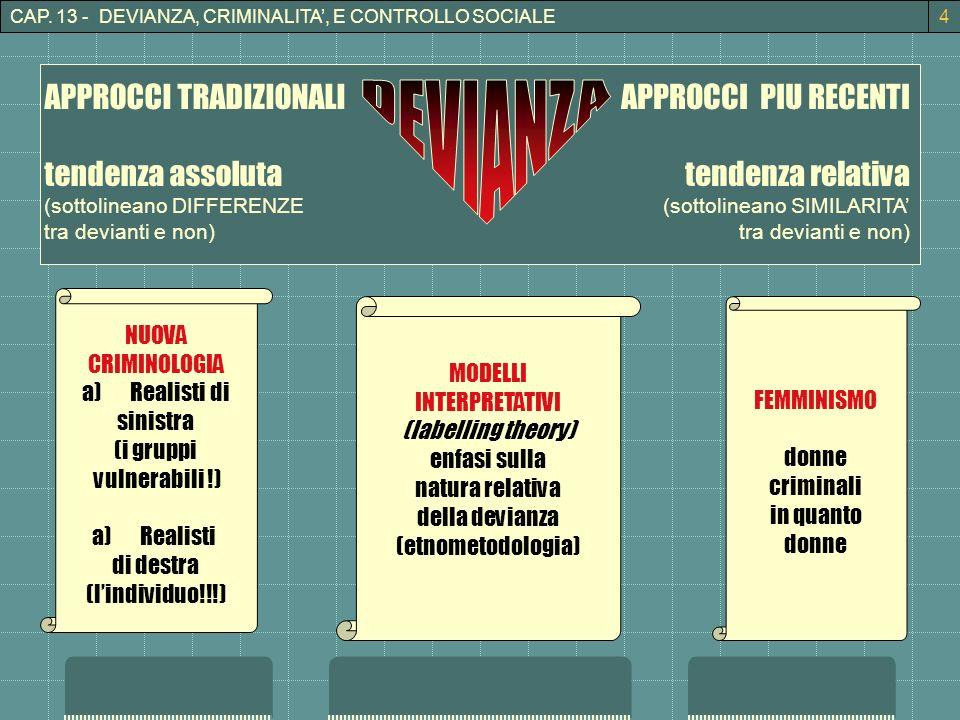CAP. 13 - DEVIANZA, CRIMINALITA, E CONTROLLO SOCIALE4 APPROCCI TRADIZIONALI tendenza assoluta (sottolineano DIFFERENZE tra devianti e non) APPROCCI PI