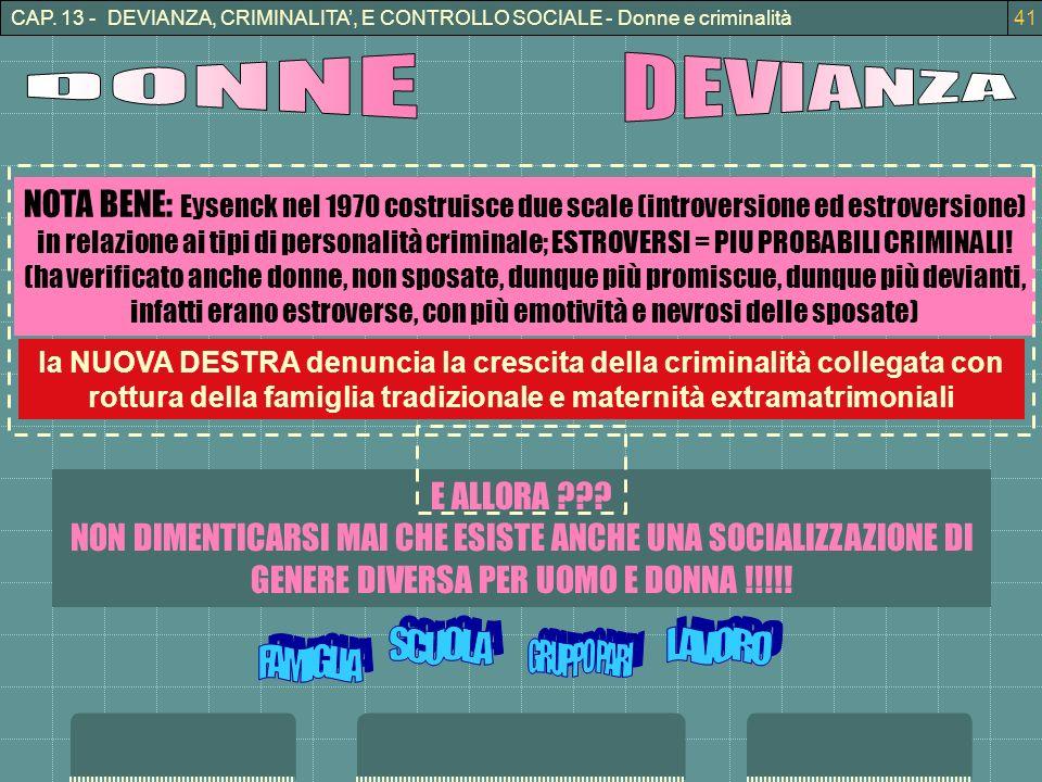 CAP. 13 - DEVIANZA, CRIMINALITA, E CONTROLLO SOCIALE - Donne e criminalità41 la NUOVA DESTRA denuncia la crescita della criminalità collegata con rott