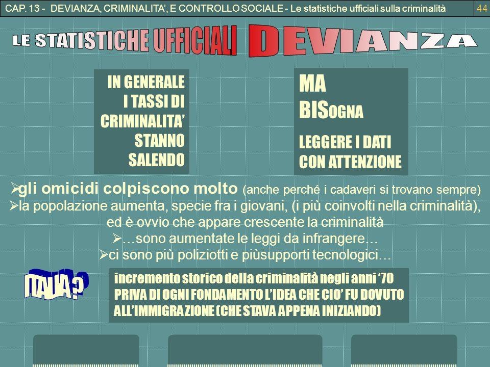 CAP. 13 - DEVIANZA, CRIMINALITA, E CONTROLLO SOCIALE - Le statistiche ufficiali sulla criminalità44 IN GENERALE I TASSI DI CRIMINALITA STANNO SALENDO