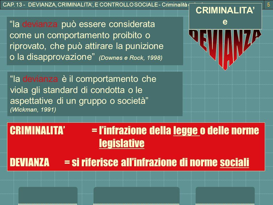 CAP. 13 - DEVIANZA, CRIMINALITA, E CONTROLLO SOCIALE - Criminalità e devianza5 CRIMINALITA e la devianza può essere considerata come un comportamento