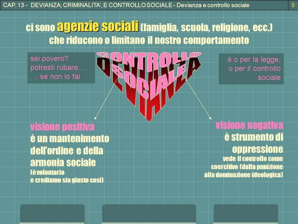 CAP. 13 - DEVIANZA, CRIMINALITA, E CONTROLLO SOCIALE - Devianza e controllo sociale9 sei povero? potresti rubare… … se non lo fai agenzie sociali ci s