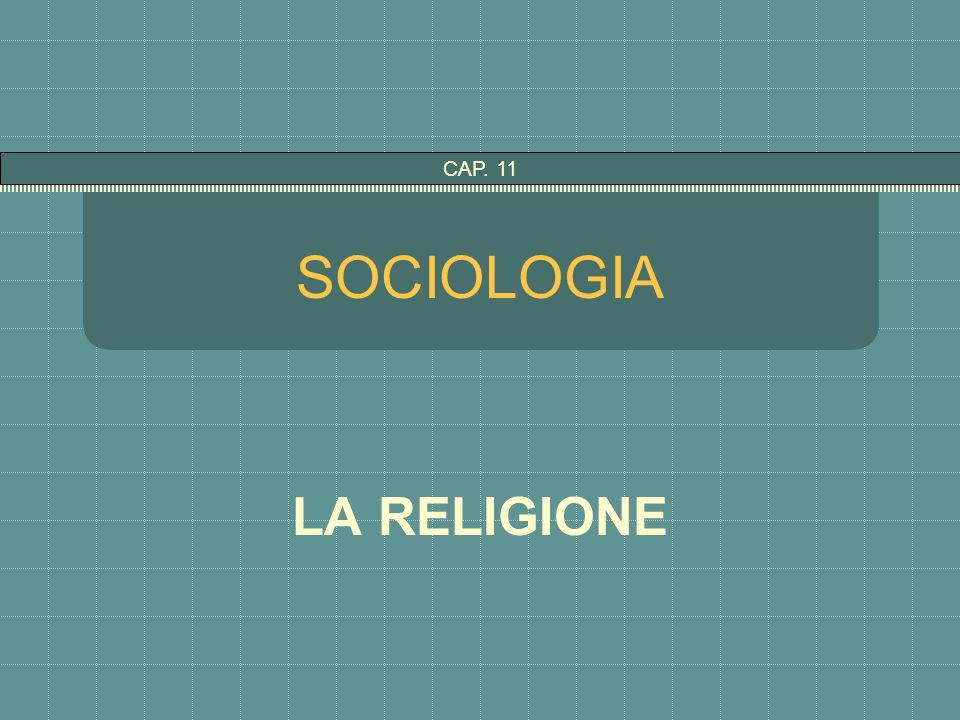 SOCIOLOGIA LA RELIGIONE CAP. 11