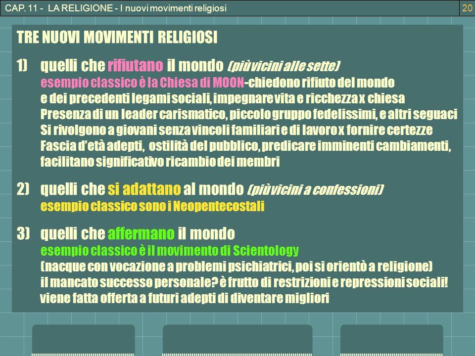 CAP. 11 - LA RELIGIONE - I nuovi movimenti religiosi20 TRE NUOVI MOVIMENTI RELIGIOSI 1)quelli che rifiutano il mondo (più vicini alle sette) esempio c