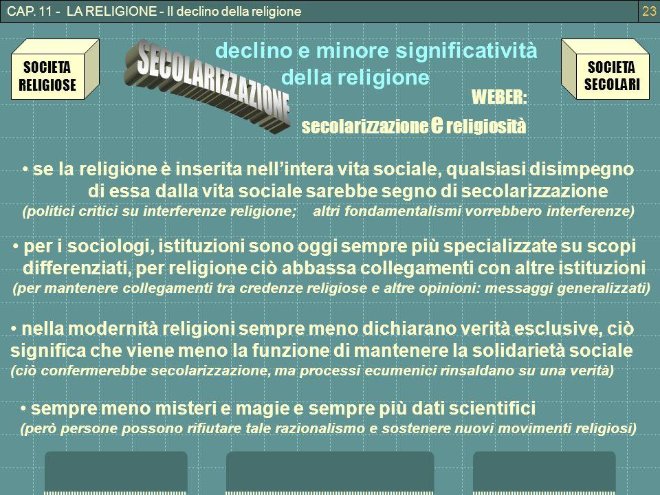 CAP. 11 - LA RELIGIONE - Il declino della religione23 declino e minore significatività della religione WEBER: secolarizzazione e religiosità SOCIETA R