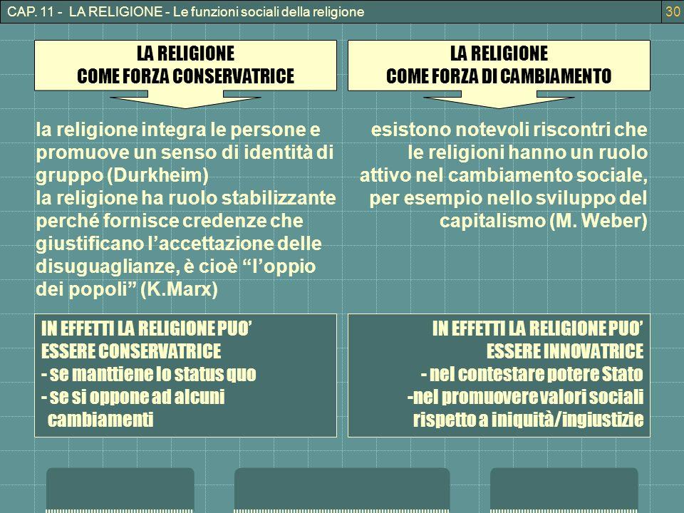 CAP. 11 - LA RELIGIONE - Le funzioni sociali della religione30 LA RELIGIONE COME FORZA CONSERVATRICE LA RELIGIONE COME FORZA DI CAMBIAMENTO la religio