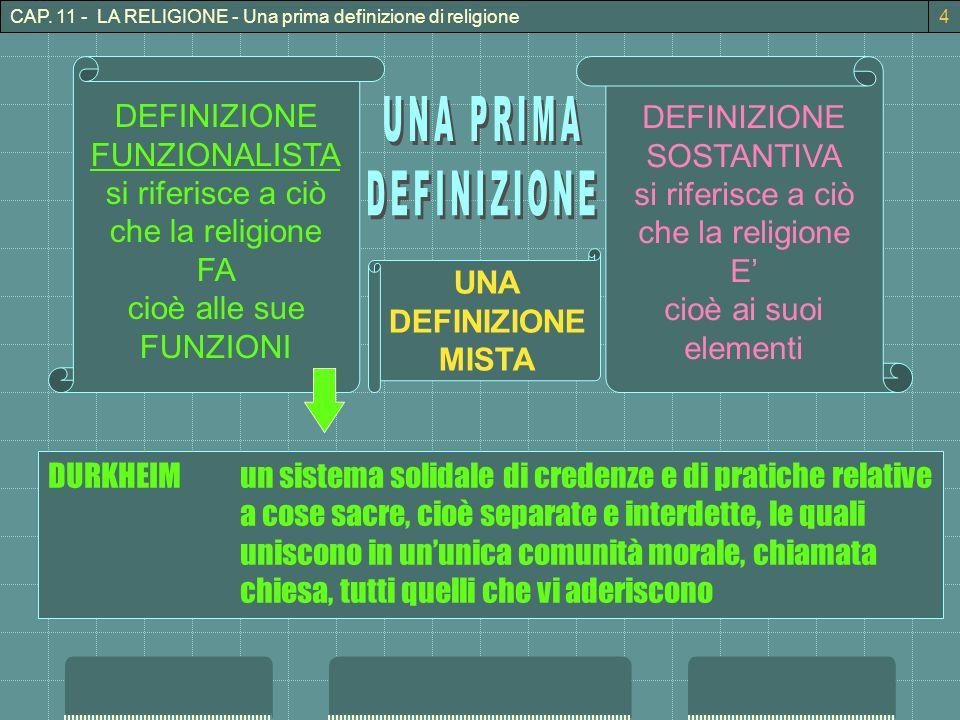 CAP. 11 - LA RELIGIONE - Una prima definizione di religione4 DEFINIZIONE FUNZIONALISTA si riferisce a ciò che la religione FA cioè alle sue FUNZIONI D