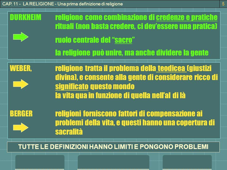 CAP. 11 - LA RELIGIONE - Una prima definizione di religione5 DURKHEIMreligione come combinazione di credenze e pratiche rituali (non basta credere, ci