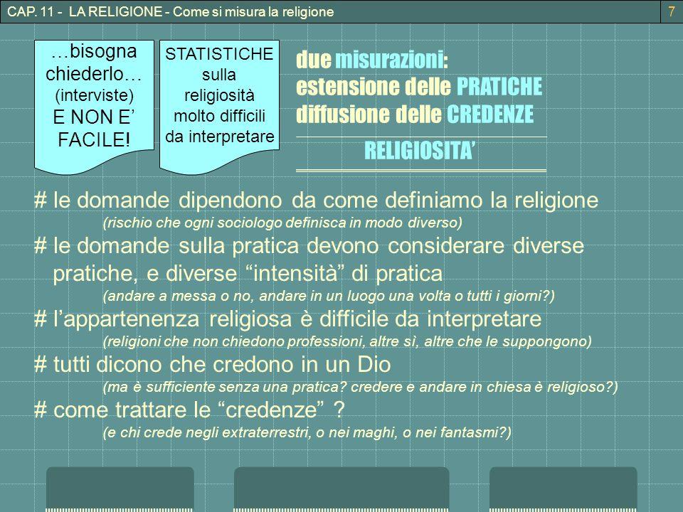 CAP. 11 - LA RELIGIONE - Come si misura la religione7 due misurazioni: estensione delle PRATICHE diffusione delle CREDENZE RELIGIOSITA STATISTICHE sul