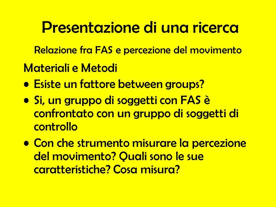 Relazione fra FAS e percezione del movimento Materiali e Metodi Esiste un fattore between groups.