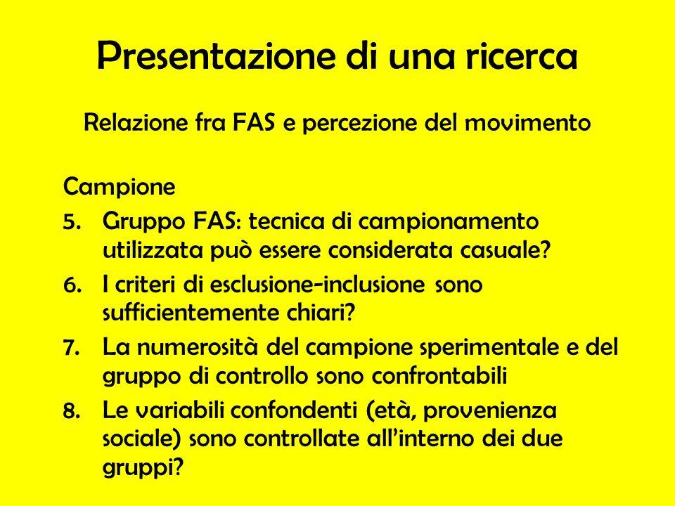 Campione 5.Gruppo FAS: tecnica di campionamento utilizzata può essere considerata casuale.