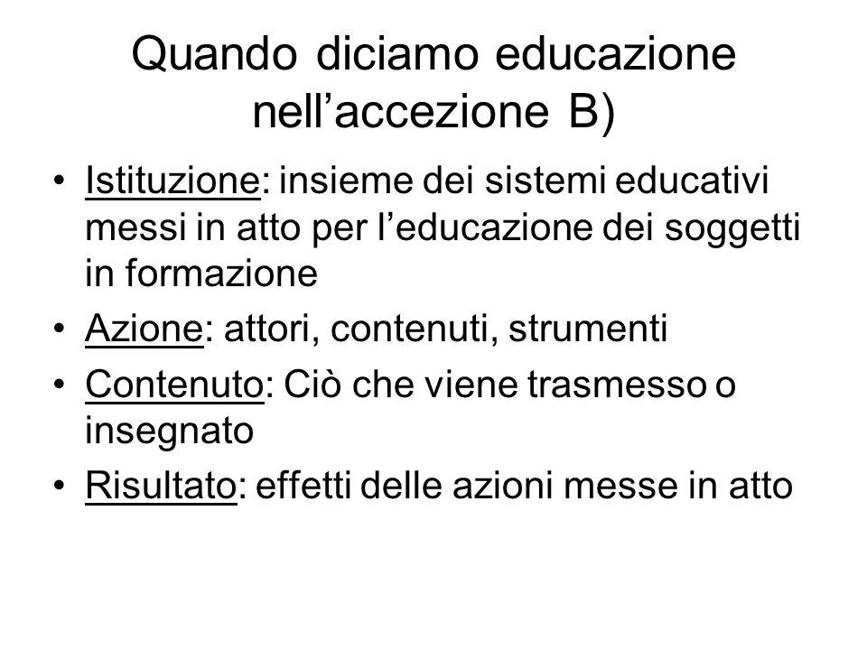 Quando diciamo educazione nellaccezione B) Istituzione: insieme dei sistemi educativi messi in atto per leducazione dei soggetti in formazione Azione: