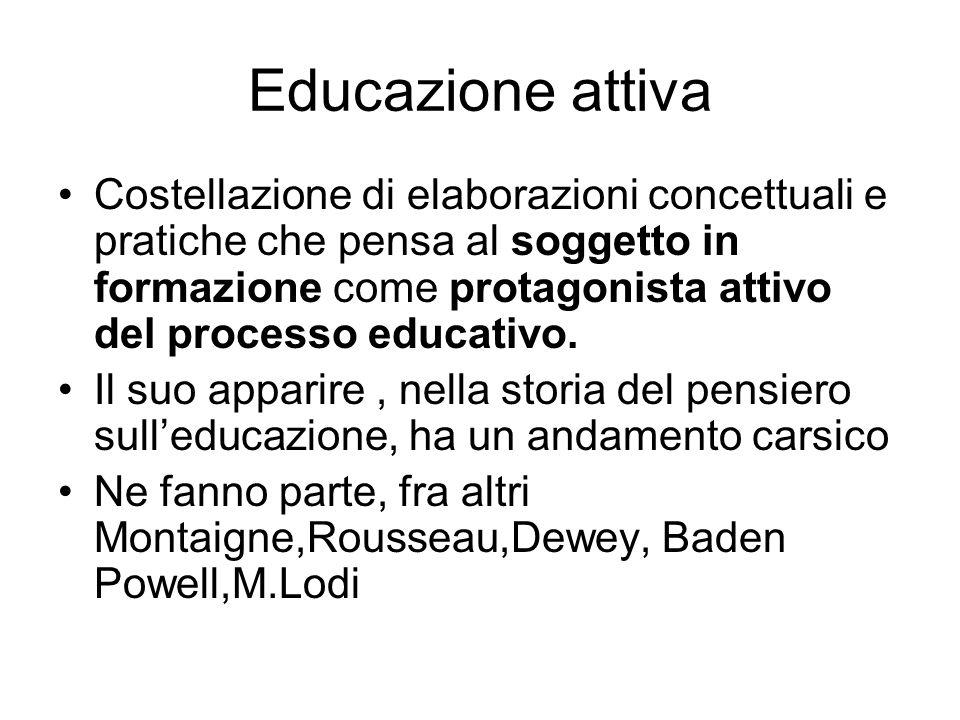 Educazione attiva Costellazione di elaborazioni concettuali e pratiche che pensa al soggetto in formazione come protagonista attivo del processo educa