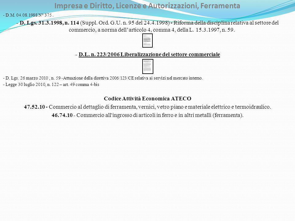 Impresa e Diritto, Licenze e Autorizzazioni, Ferramenta - D.M.
