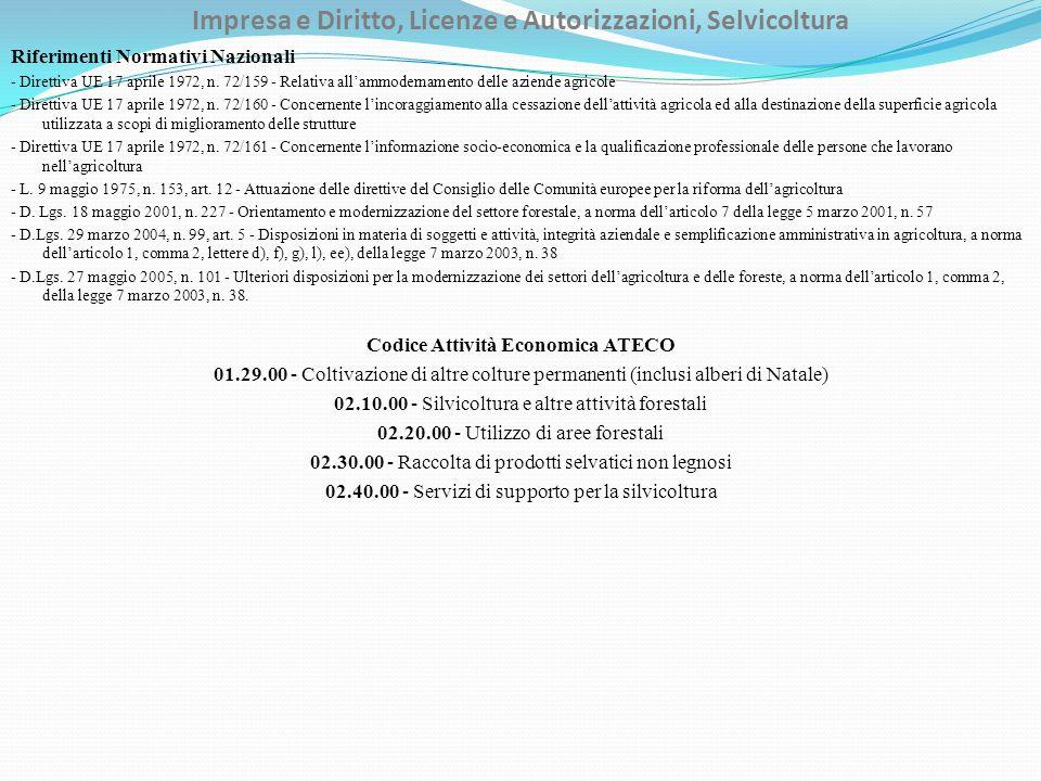 Impresa e Diritto, Licenze e Autorizzazioni, Selvicoltura Riferimenti Normativi Nazionali - Direttiva UE 17 aprile 1972, n.