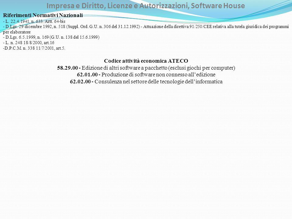 Impresa e Diritto, Licenze e Autorizzazioni, Software House Riferimenti Normativi Nazionali - L.