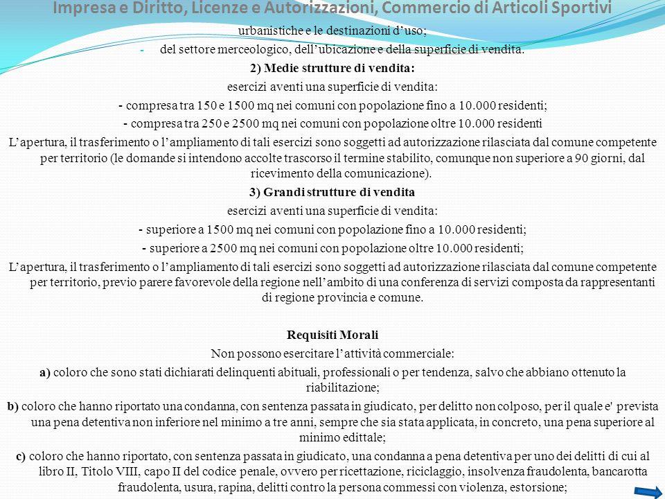 Impresa e Diritto, Licenze e Autorizzazioni, Commercio di Articoli Sportivi urbanistiche e le destinazioni duso; - del settore merceologico, dellubicazione e della superficie di vendita.