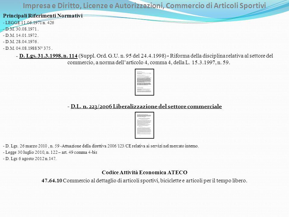Impresa e Diritto, Licenze e Autorizzazioni, Commercio di Articoli Sportivi Principali Riferimenti Normativi - LEGGE 11.06.1971 n.