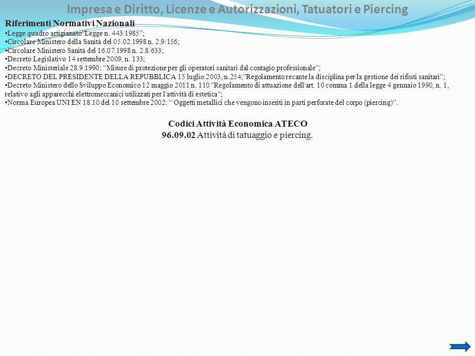 Impresa e Diritto, Licenze e Autorizzazioni, Tatuatori e Piercing Riferimenti Normativi Nazionali Legge quadro artigianatoLegge n. 443/1985; Circolare