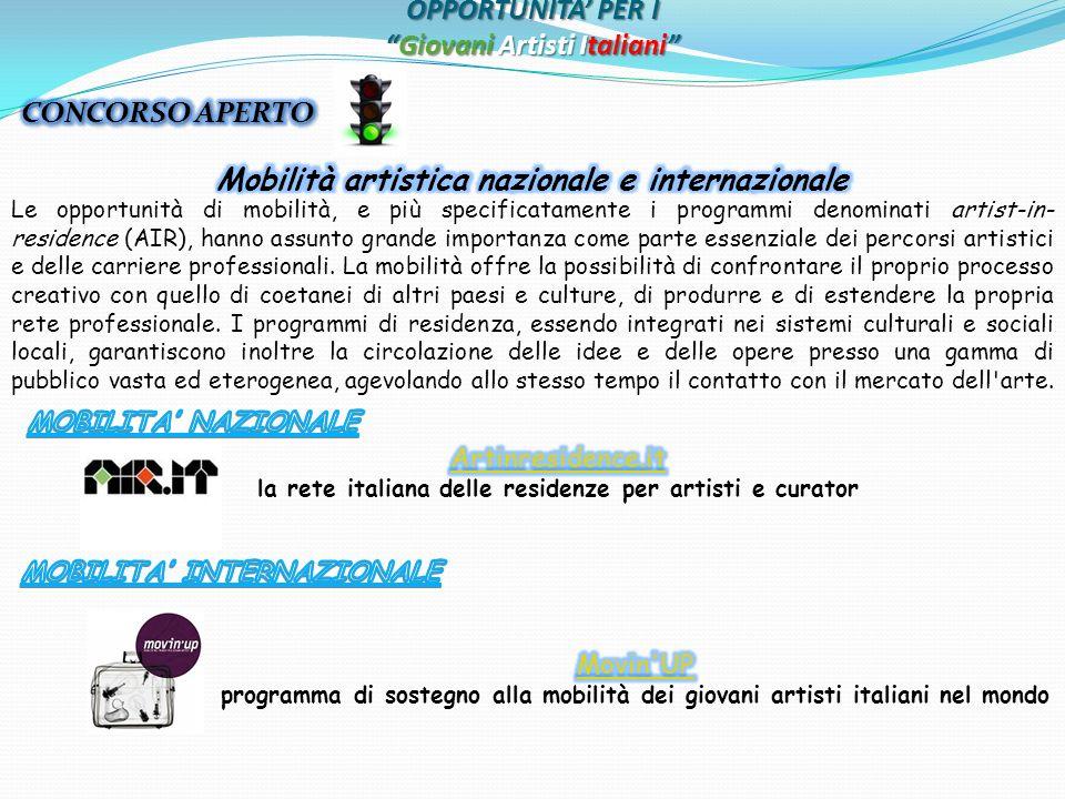 OPPORTUNITA PER IGiovani Artisti Italiani Le opportunità di mobilità, e più specificatamente i programmi denominati artist-in- residence (AIR), hanno assunto grande importanza come parte essenziale dei percorsi artistici e delle carriere professionali.