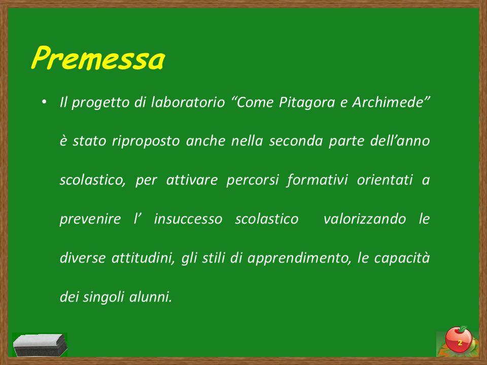 Premessa Il progetto di laboratorio Come Pitagora e Archimede è stato riproposto anche nella seconda parte dellanno scolastico, per attivare percorsi