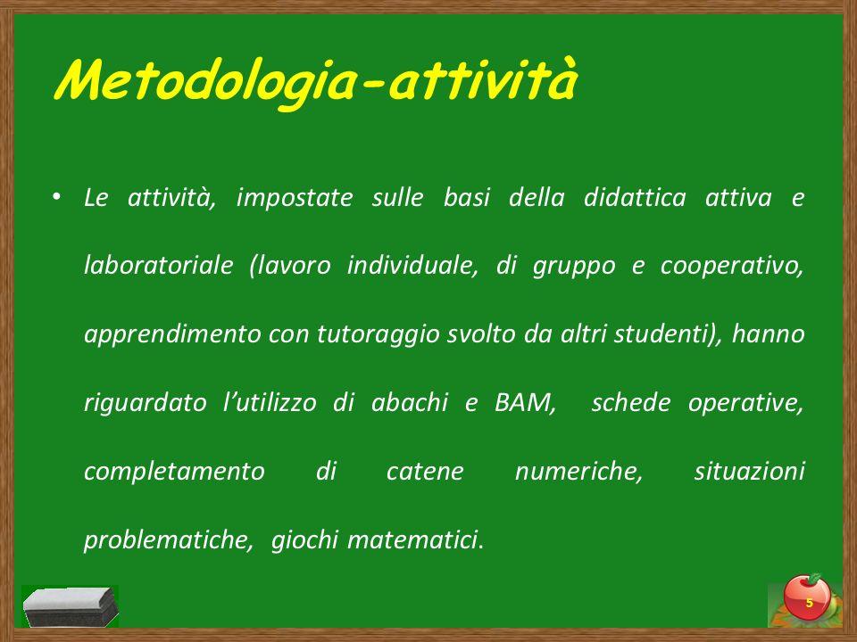 Metodologia-attività Le attività, impostate sulle basi della didattica attiva e laboratoriale (lavoro individuale, di gruppo e cooperativo, apprendime