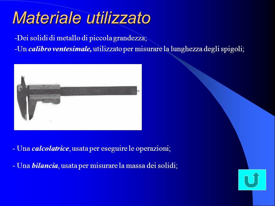 Materiale utilizzato -Dei solidi di metallo di piccola grandezza; -Un calibro ventesimale, utilizzato per misurare la lunghezza degli spigoli; - Una c