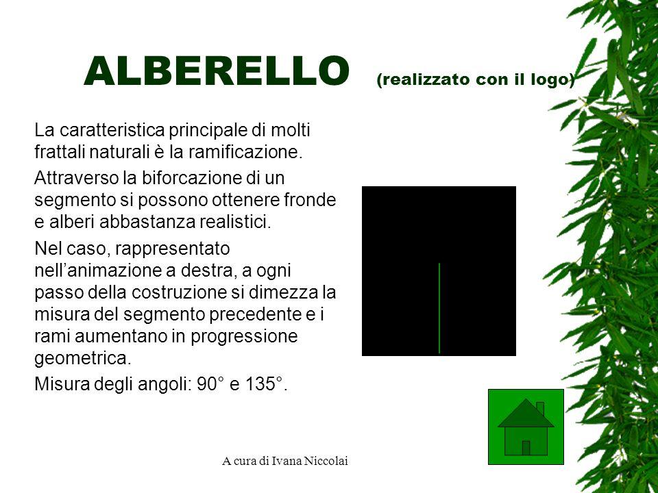 A cura di Ivana Niccolai ALBERELLO (realizzato con il logo) La caratteristica principale di molti frattali naturali è la ramificazione.