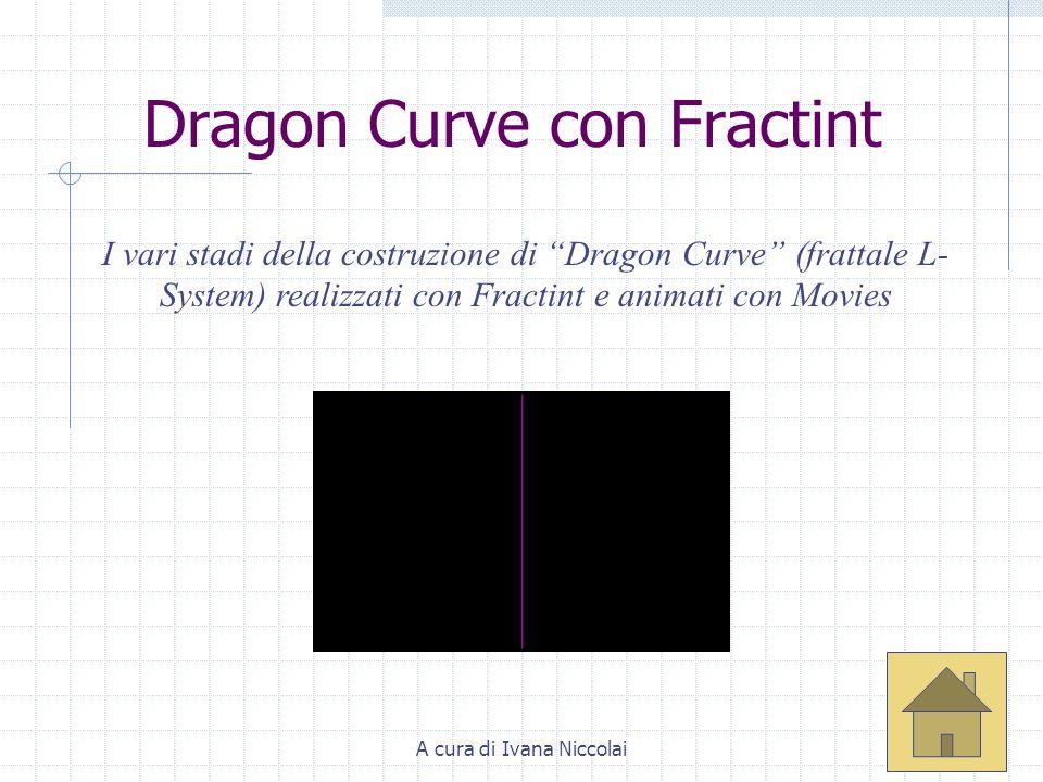 A cura di Ivana Niccolai Dragon Curve con Fractint I vari stadi della costruzione di Dragon Curve (frattale L- System) realizzati con Fractint e anima