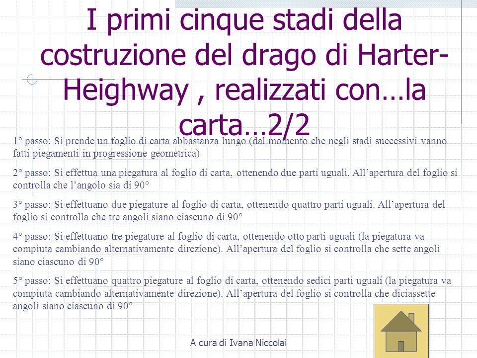 A cura di Ivana Niccolai I primi cinque stadi della costruzione del drago di Harter- Heighway, realizzati con…la carta…2/2 1° passo: Si prende un fogl
