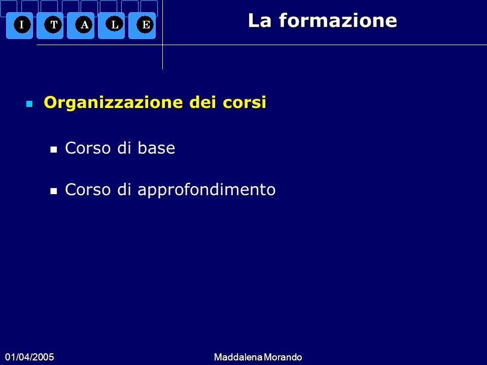 01/04/2005Maddalena Morando La formazione Organizzazione dei corsi Organizzazione dei corsi Corso di base Corso di approfondimento
