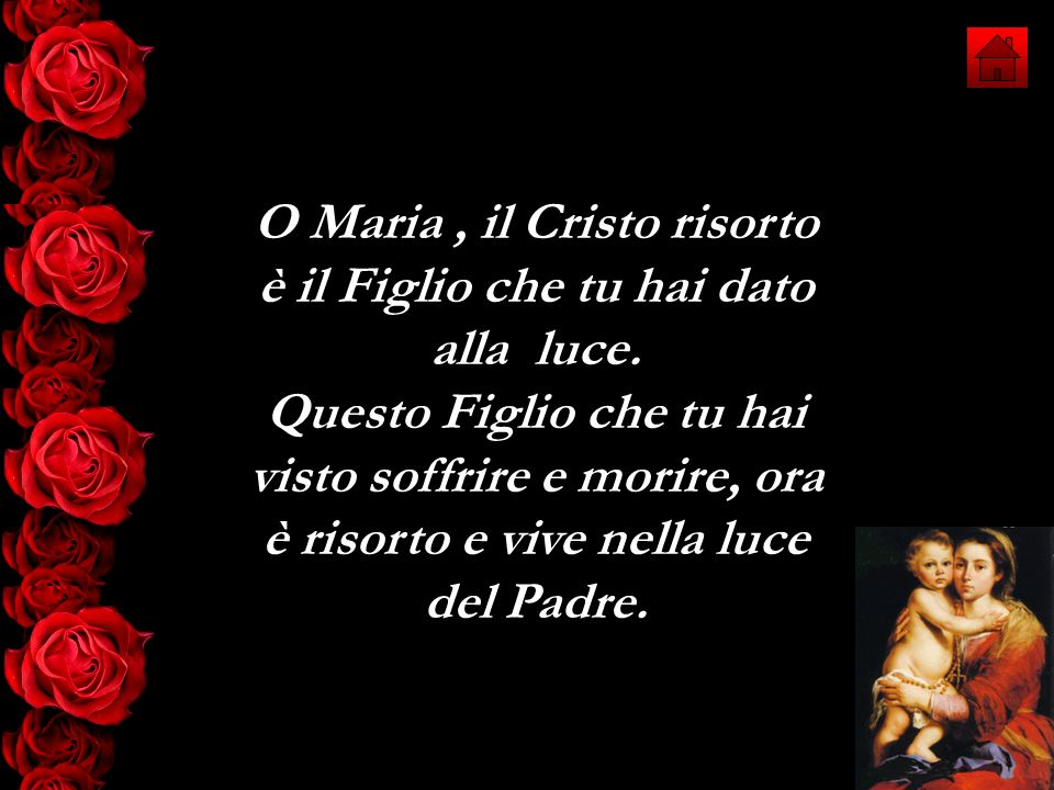 O Maria, il Cristo risorto è il Figlio che tu hai dato alla luce. Questo Figlio che tu hai visto soffrire e morire, ora è risorto e vive nella luce de