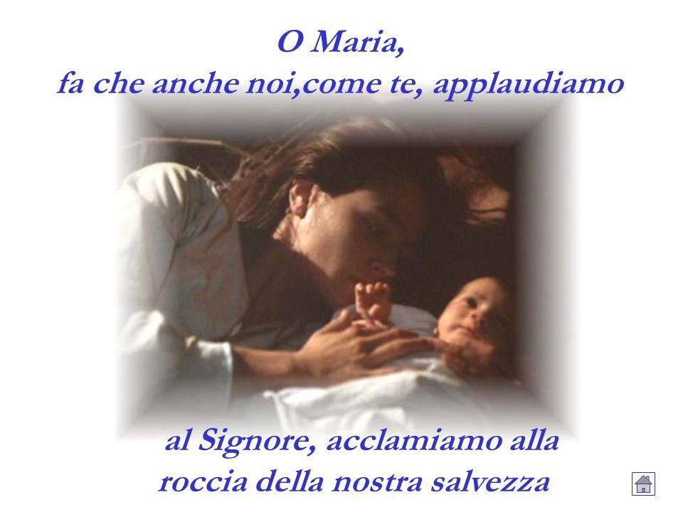 O Maria, fa che anche noi,come te, applaudiamo al Signore, acclamiamo alla roccia della nostra salvezza