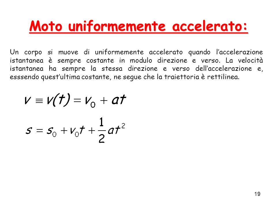 19 Moto uniformemente accelerato: Un corpo si muove di uniformemente accelerato quando laccelerazione istantanea è sempre costante in modulo direzione