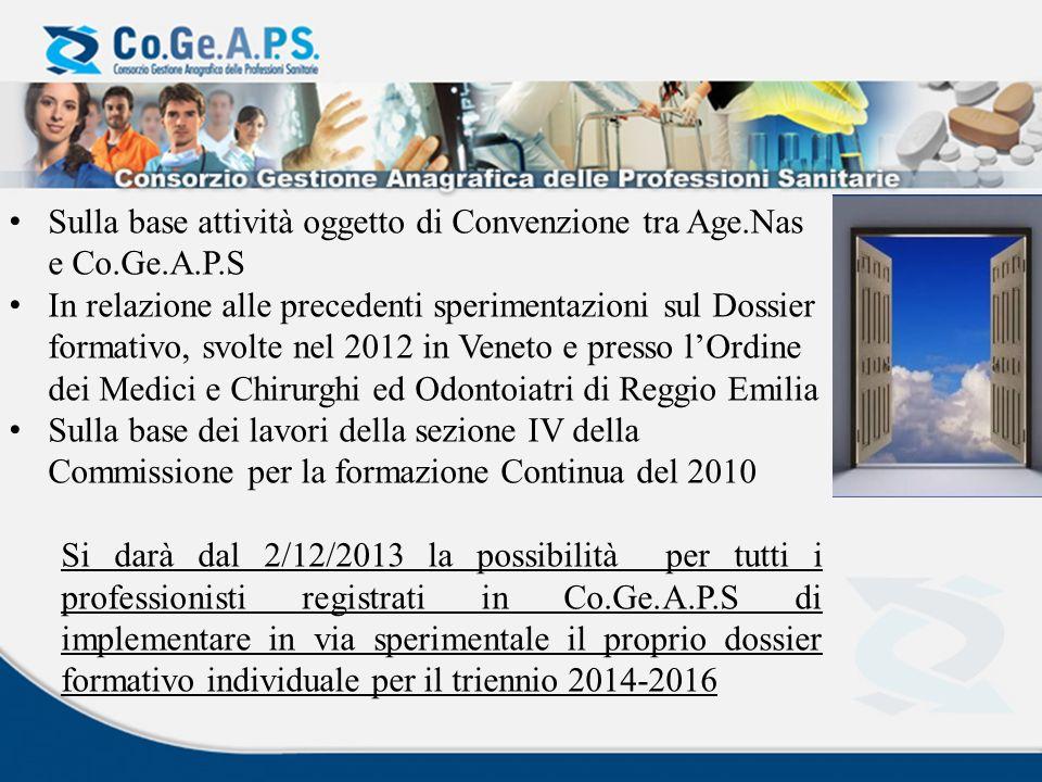 Sulla base attività oggetto di Convenzione tra Age.Nas e Co.Ge.A.P.S In relazione alle precedenti sperimentazioni sul Dossier formativo, svolte nel 20