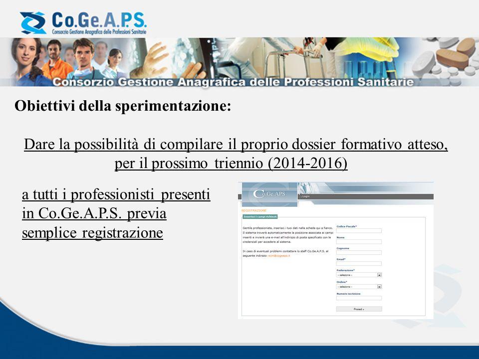 Obiettivi della sperimentazione: Dare la possibilità di compilare il proprio dossier formativo atteso, per il prossimo triennio (2014-2016) a tutti i